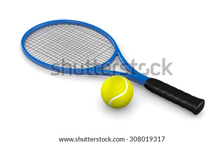 One Single Tennis Racket and Ball 3D Illustration on White Background - stock photo