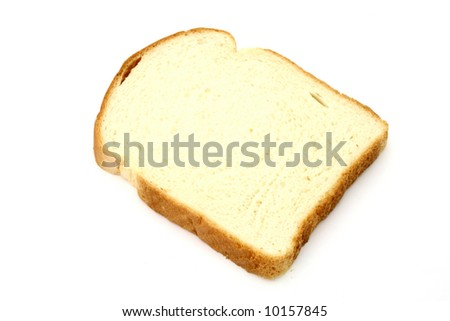 one slice of bread over a white surface - stock photo