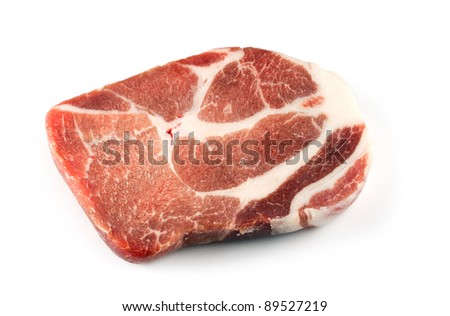 One slice uncooked pork chops - stock photo