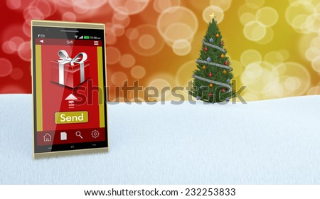 one smartphone with an app for online gifts and a Christmas tree on background (3d render) - stock photo
