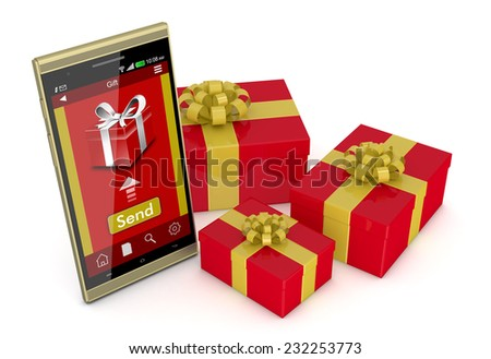 One smartphone with an app for online gifts and some gift boxes around it (3d render) - stock photo