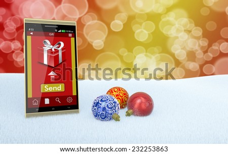 one smartphone with an app for online gifts and three Christmas balls (3d render) - stock photo