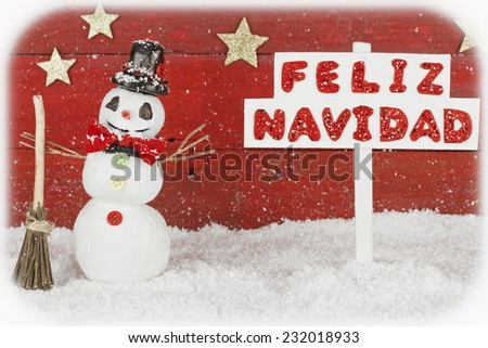One snowman with one signpost with the words Merry Christmas on spanish - stock photo