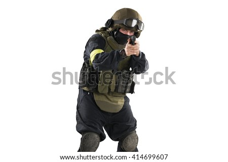 one soldier holding pistol. Uniform conforms to special services FSB of the Russian Federation. Shot in studio. Isolated with clipping path on white background - stock photo