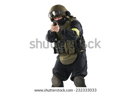 one soldier holding pistol. Uniform conforms to special services FSB (soldiers) of the Russian Federation. Shot in studio. Isolated with clipping path on white background - stock photo