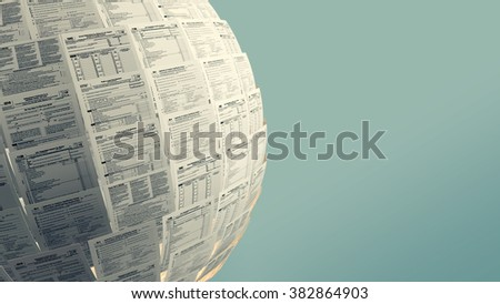 one sphere made with Usa tax forms with empty space at the right (3d render) - stock photo