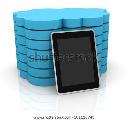 one stack of clouds with a tablet pc, concept of cloud computing and global access of data(3d render) - stock photo