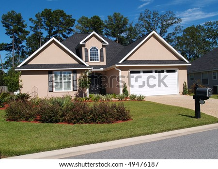 One story residential home with board or vinyl siding and front entry garage. - stock photo