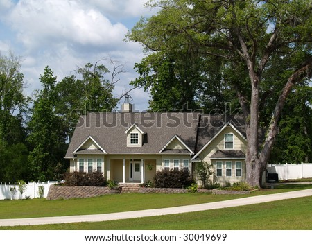 One story residential home with board siding on the facade. - stock photo
