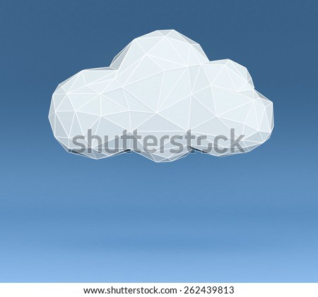 one stylized cloud made with the technique of low poly modeling on blue background, empty space at the bottom (3d render) - stock photo