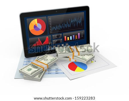 one tablet pc with a financial software, paper worksheets, and stacks of banknotes (3d render) - stock photo