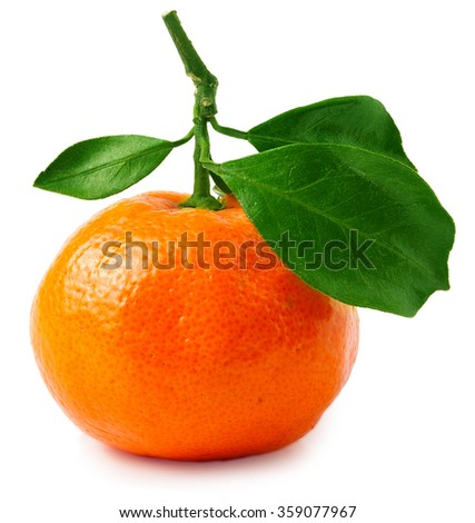 One tangerine or orange with leaves isolated on white - stock photo