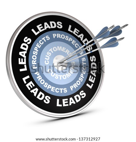 One target where it is written leads, prospects and customer, conceptual 3D render for sales process. - stock photo