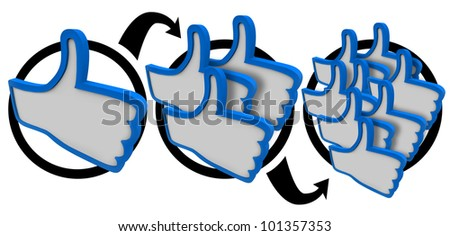 One thumb up becomes three and then many as your popularity grows and word spreads that you have a good reputation and are called favorite of many people in your audience - stock photo