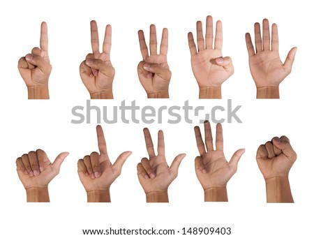 One to ten fingers count signs - stock photo