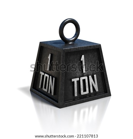 one 1 ton weight isolated on white background - stock photo