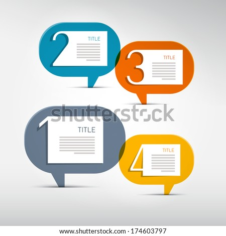One, Two, Three, Four Steps for Tutorial, Infographics - Also Available in Vector Version - stock photo