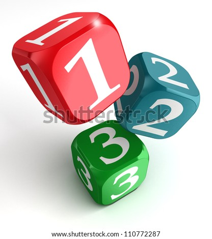 one two three numbers on red blue green box on white background - stock photo
