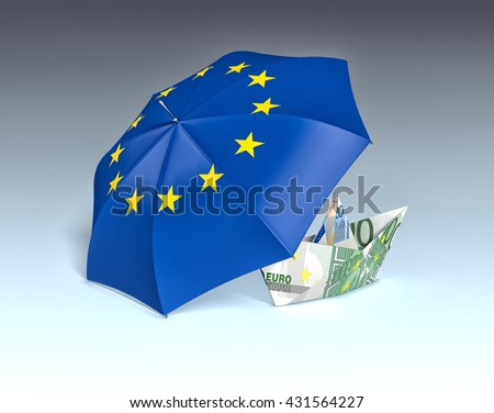 one umbrella with the europe flag and a paper boat made with euro banknotes, concept of safety (3d render) - stock photo