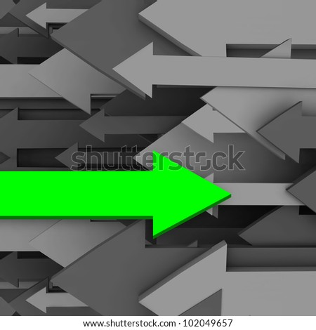 One uncommon, unique and different arrow goes in the opposite direction of the rest of the group, symbolizing unusual nature, being a rebel or innovating with creative thinking - stock photo