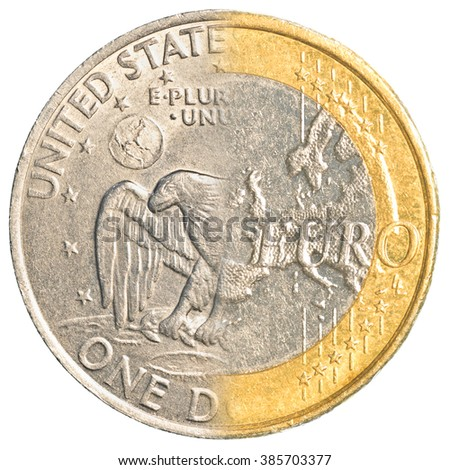 One US dollar - one euro coin isolated on white background - stock photo