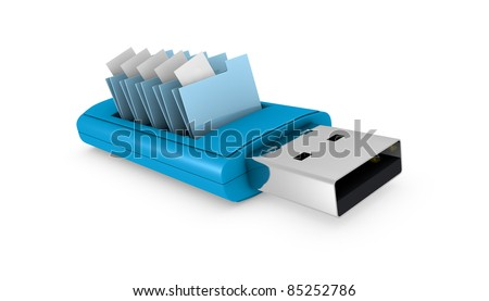 one usb key that contains data folders (3d render) - stock photo