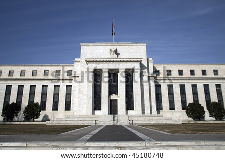One view of the headquarters of the Federal Reserve in Washington, D.C. - stock photo