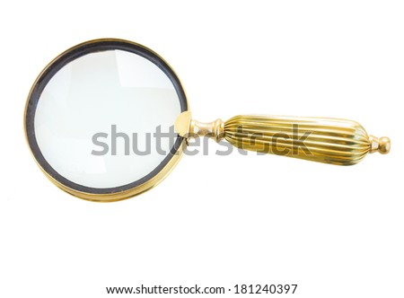 one vintage magnifying glass isolated on white background - stock photo