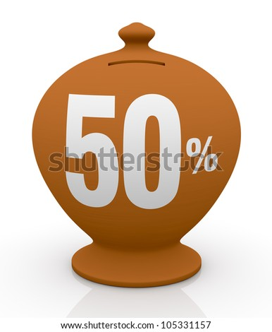 one vintage money box with number fifty and percent symbol(3d render) - stock photo
