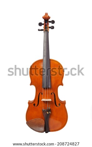 one violin on the white background - stock photo