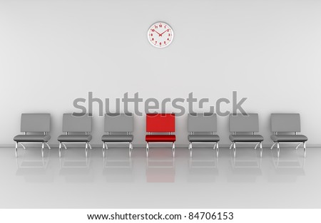 one waiting room with a row of chairs and one of them in different color (3d render) - stock photo