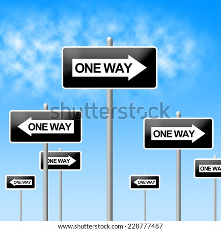 One Way Sign Meaning Indecisive Uncertain And Decision - stock photo