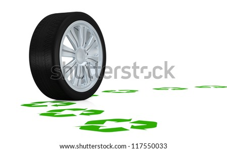 one wheel following a path made with recycling symbols (3d render) - stock photo