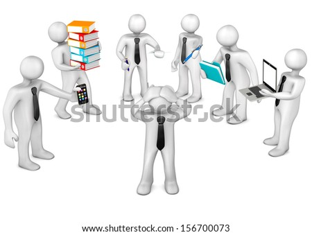 One white cartoon character has stress at work. - stock photo