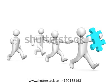 One white cartoon character hast stolen a puzzle piece. - stock photo