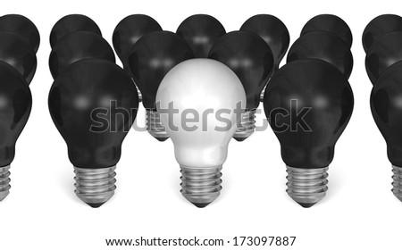 One white light bulb among many black ones isolated on white background - stock photo