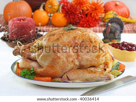 One whole roasted turkey in a festive Thanksgiving setting. - stock photo