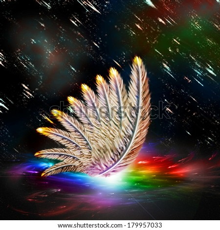 One wings on a space background - stock photo