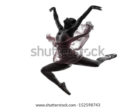one  woman   ballerina ballet dancer dancing in silhouette on white background - stock photo
