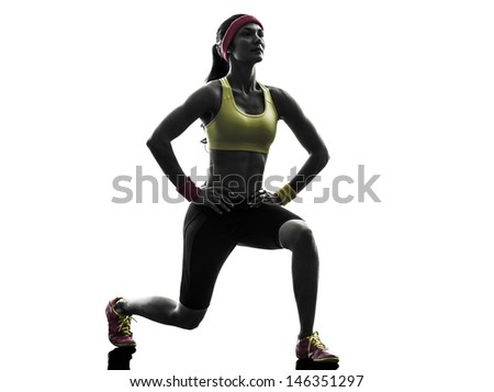 one  woman exercising fitness workout lunges crouching  in silhouette  on white background - stock photo