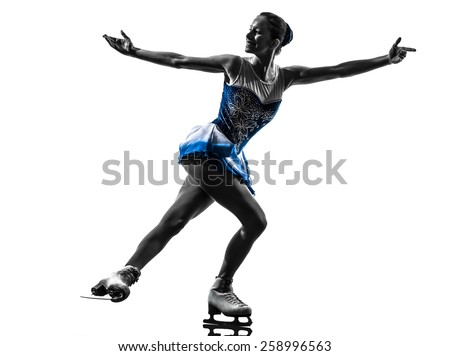 one  woman ice skater skating in silhouette on white background - stock photo