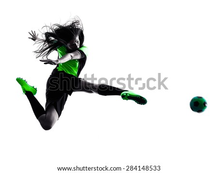 one woman playing soccer player in silhouette isolated on white background - stock photo