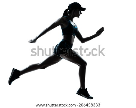 one  woman runner jogger in silhouette studio isolated on white background - stock photo