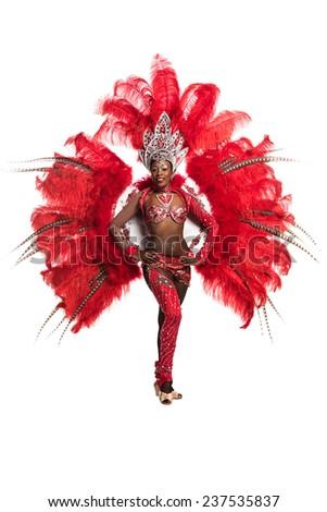 One woman samba dancer on white background - stock photo