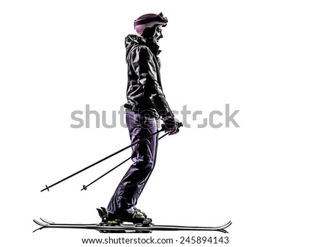 one  woman skier skiing in silhouette on white background - stock photo