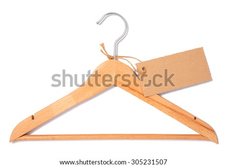 one  wooden hangers with label over white background - stock photo