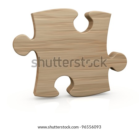 one wooden piece of a jigsaw puzzle (3d render) - stock photo