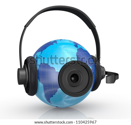 one world globe with headphones,mic and a webcam, concept of global communications (3d render) - stock photo