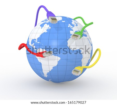 one world globe with some network connectors, concept of global network (3d render) - stock photo