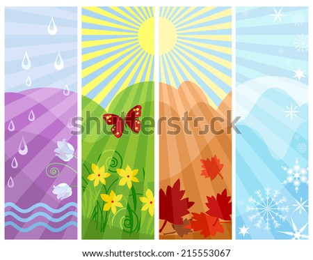 One year in four seasons raster illustration. Abstract composition of circles of Nature, four seasons in one picture. - stock photo